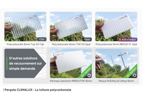 Toiture Polycarbonate de la Pergola Aluminium CLIMALUX