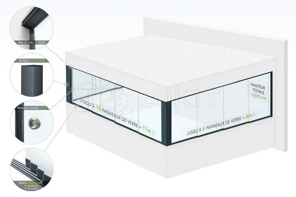 Schéma de la Fermeture et Protection de Balcon en Verre