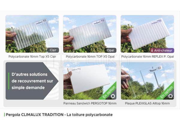 Toiture Polycarbonate de la Pergola Aluminium CLIMALUX TRADITION