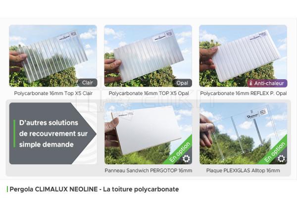 Toiture Polycarbonate de la Pergola Aluminium CLIMALUX NEOLINE