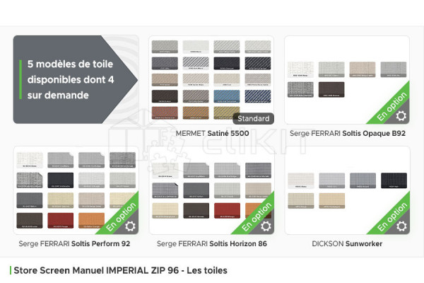 Toiles du Store Screen Manuel IMPERIAL ZIP 96