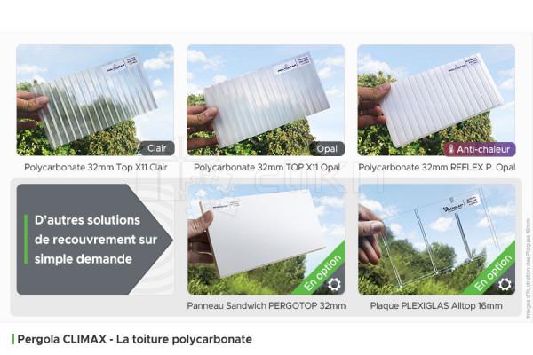 Toiture Polycarbonate de la Pergola Aluminium CLIMAX