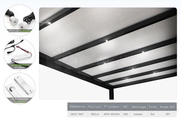 Schéma du Kit d'Éclairage Spots LED pour Pergola