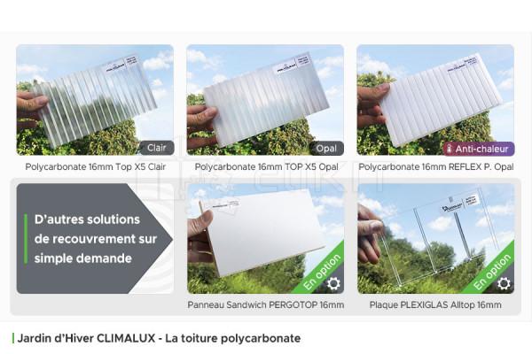 Toiture Polycarbonate du Jardin d'Hiver Aluminium CLIMALUX