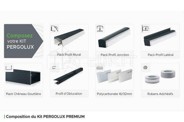 Composition du Kit de Couverture de Toiture PERGOLUX PREMIUM