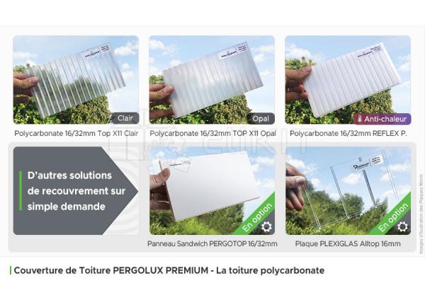 Toiture Polycarbonate du Kit de Couverture de Toiture PERGOLUX PREMIUM