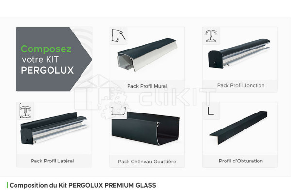 Composition du Kit de Couverture de Toiture PERGOLUX PREMIUM GLASS